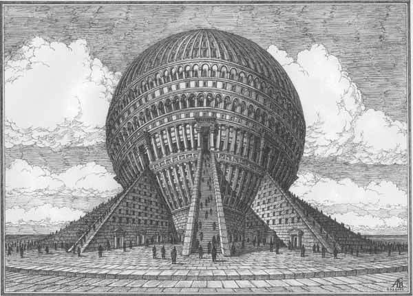 Ритуальное здание-шар. Архитектурная фантастика Артура Скижали-Вейса