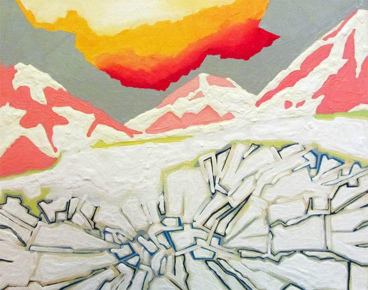 """Сандра Силевика """"Закат в горах"""", живопись. Латвия"""