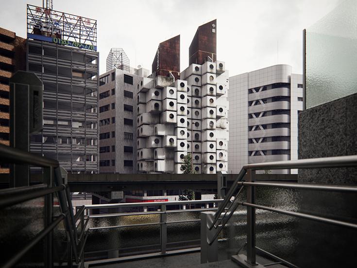 Капсульная башня Накагин в Токио