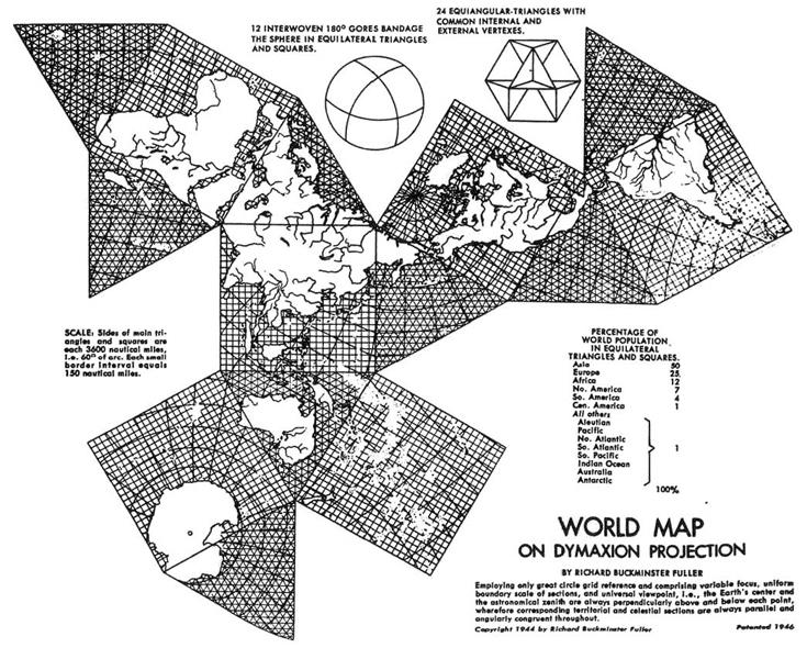 """Карта мира в проекции """"Димаксион"""""""