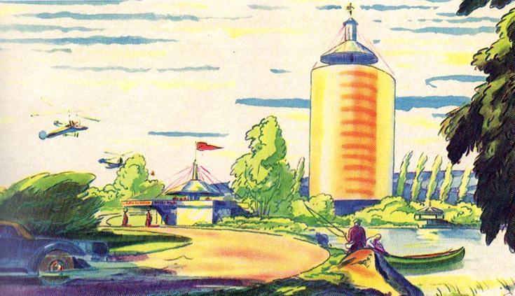 """Иллюстрация к проекту 10-палубного жилого здания """"Димаксион"""" в журнале """"Fortune"""", июль 1932 года."""