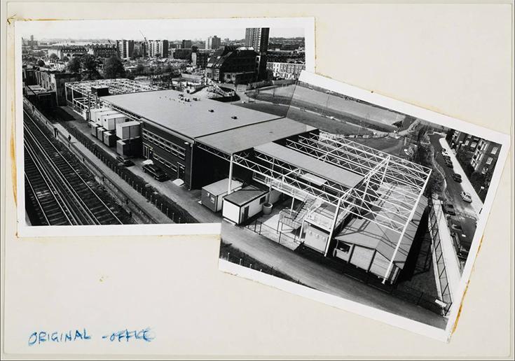 Фотоколлаж Седрика Прайса: здание районного центра искусств с высоты птичьего полета, 1970-1981.