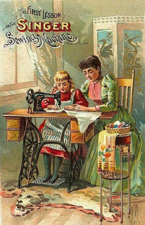 """Реклама """"Первый урок на швейной машине Зингер"""", 1890"""