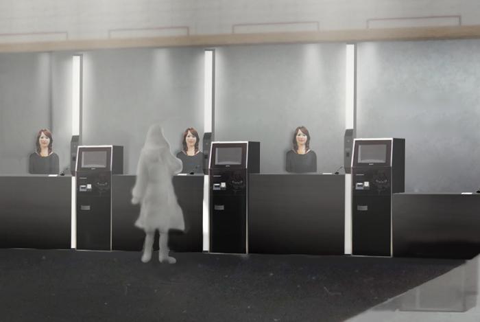 Ресепшн отеля Henn-na с роботами за стойкой