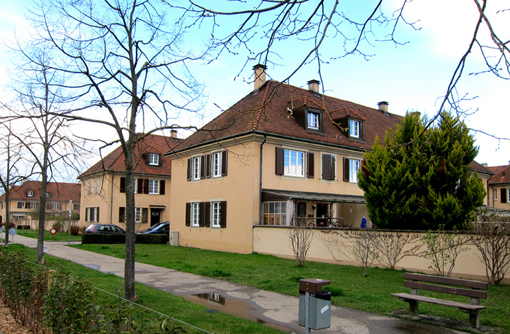Современный вид Фрайдорфа со зданиями, построенными Ханнесом Мейером