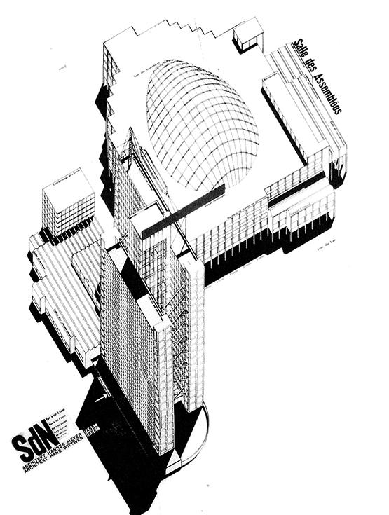 Конкурсное предложение Ханнеса Мейера и Ханса Виттвера для здания Лиги Наций в Женеве, 1927