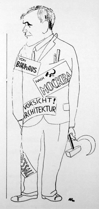 Карикатура на отъезд Ханнеса Мейера в СССР