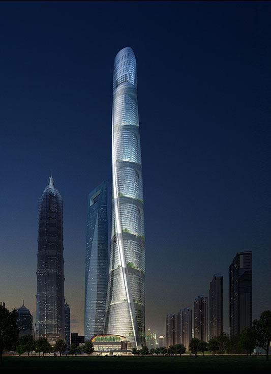 Небоскреб Shanghai Tower в Шанхае, 2015. Архитектор Маршалл Страбала