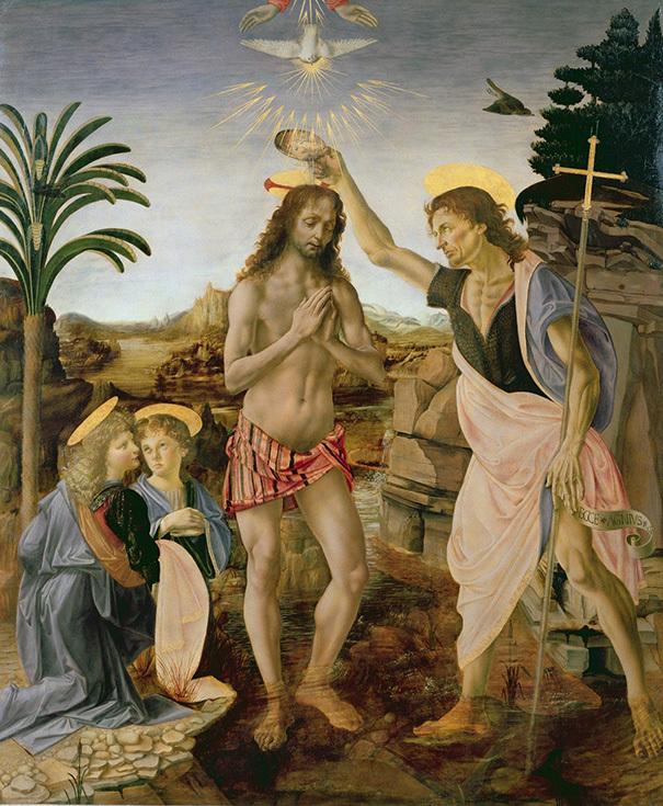 """Андреа дель Верроккьо, Леонардо да Винчи """"Крещение Христа"""", ок. 1475 года"""