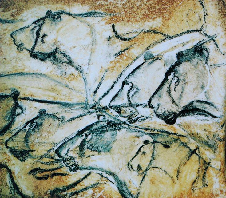 Изображение львов на стене пещеры Шове, 30 тысяч лет до н. э.