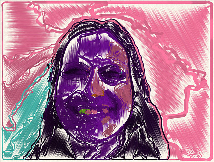 """Портрет """"Счастье"""" из серии эмоционально окрашенных портретов программы The Painting Fool"""