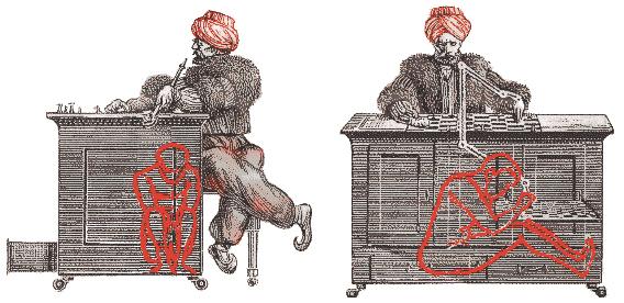Схема автомата-шахматиста Вольфганга фон Кемпелена, XVIII век