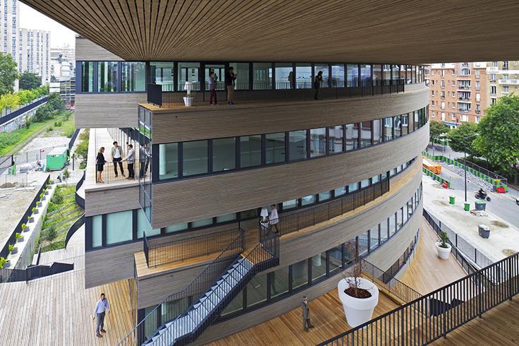 Pushed Slab - деревянное офисное здание в Париже